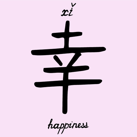 Chinese character happiness with translation into English.