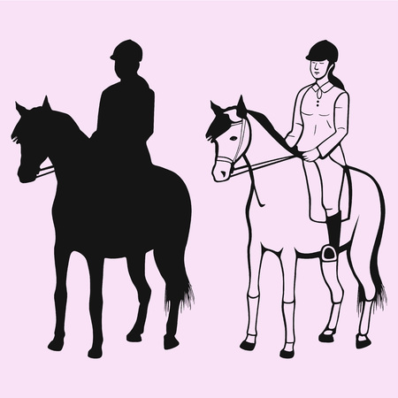 Equestrian sport, woman in gear sitting on a horse silhouette. 免版税图像 - 101186916