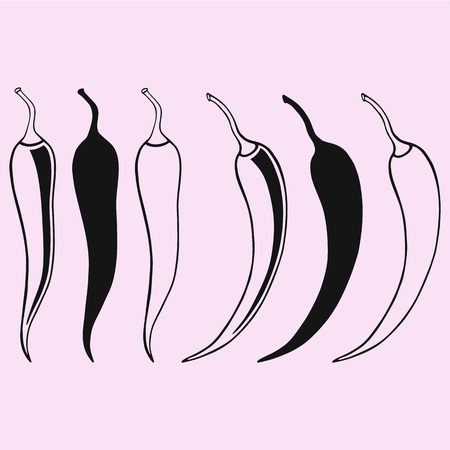 Chili pepper set vector silhouette isolated illustration.