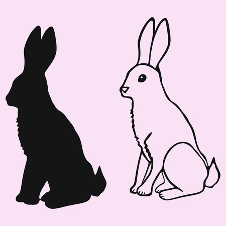 Rabbit vector silhouette isolated illustration. Illustration