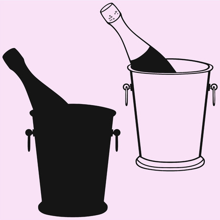 Champagne bottle in a ice bucket silhouette Illustration