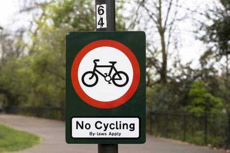 London, Great Britain. Battersea Park. No cycling sign in the park.