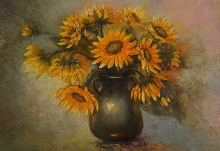 Bild mit Sonnenblumen. Ölgemälde. Abstraktes Stillleben mit Sonnenblumen in einer Vase. Ein Strauß gelber Blumen. Standard-Bild