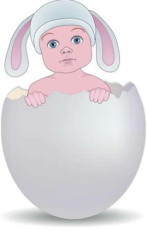 яичная скорлупа: Ребенок с кроличьи уши сидит в разрушенной яичной скорлупы Иллюстрация