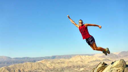 mountin: The man jumped. Mountin view. Eilat. Israel