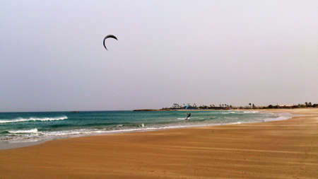 kiting: Kiting on the beach of Atlit. Israel Stock Photo