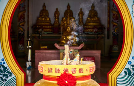 Altar in the Chinese temple. Koh Phangan