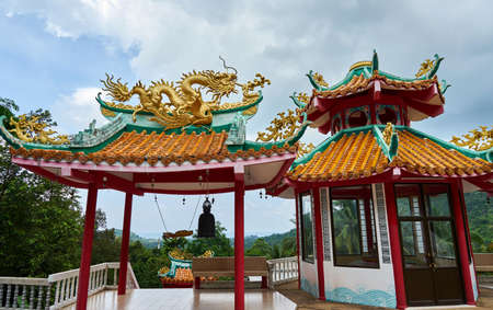 Canopy with beautiful background. Chinese Temple. Koh Phangan Stock Photo