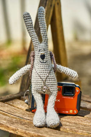 Gray knitted hare sits on camera, Sochi