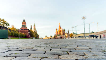 Red Square, view from paving stones. Moscow Russia 스톡 콘텐츠