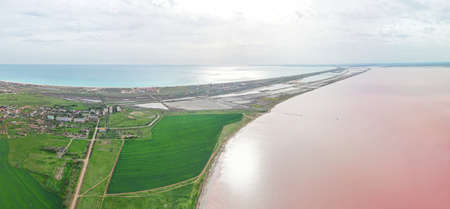Aerial view of beautiful salt lake Sasyk - Sivash and Black Sea in Crimea