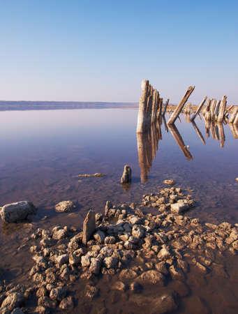 Landscape old rotten columns in lake