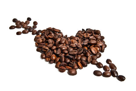 Heart from coffee beans and arrow Stock Photo - 11989475