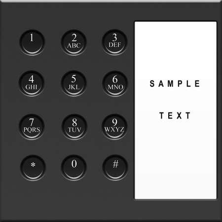 Modern black telephone keypad with sample text Stock Photo