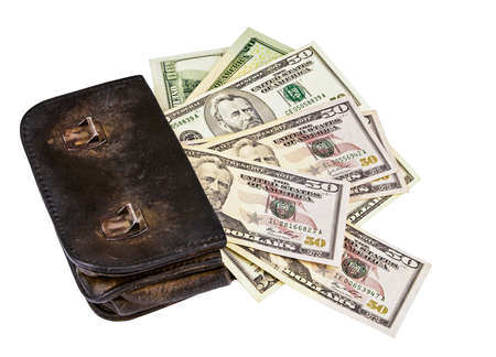 old wallet with american dollars isolated on the white background photo