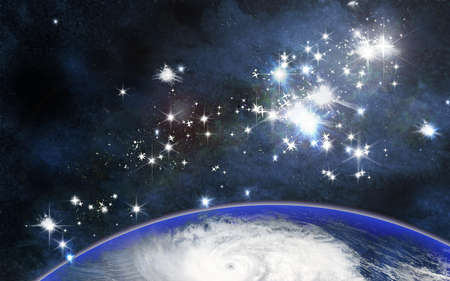 galactic center: abstract earth, space and star background Stock Photo
