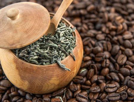 Coffe beans and green tea photo