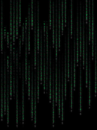 Green binary code on black background Stock Photo - 12677731