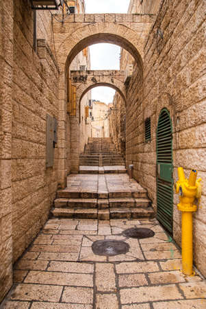jewish houses: An alley in the old city in Jerusalem. Stock Photo