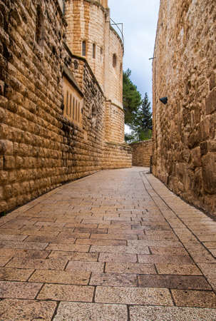 jewish home: An alley in the old city in Jerusalem. Stock Photo