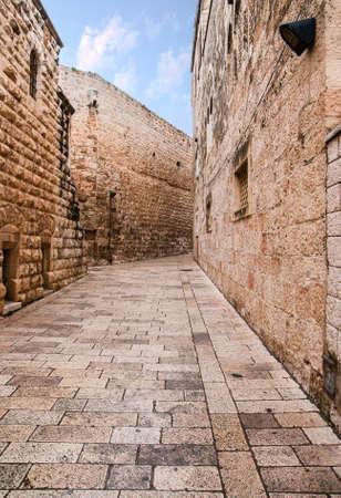 エルサレムの旧市街の路地。 写真素材