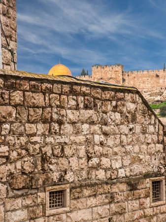 Old Jerusalem view - wailing wall and golden dome of Omar mosque photo