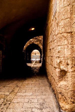 An alley in the old city in Jerusalem. Stock Photo