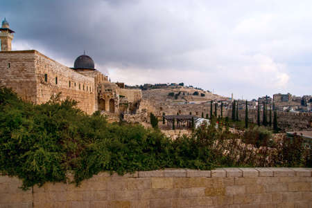 Jerusalem View on the Mount of Olives from Al-Aqsa mosque Stock Photo