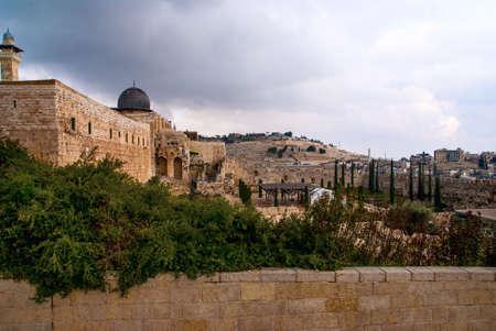 Jeruzalem Bekijk op de Olijfberg van Al-Aqsa moskee
