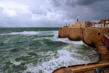 エーカー古代の市街壁、イスラエルの眺め 写真素材