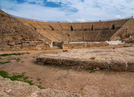 Caesarea oude theater in het noorden Israël Stockfoto