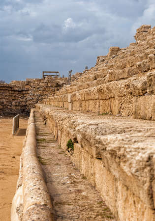 Ancient Roman hippodrome in Caesarea, Israel photo