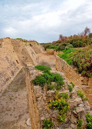 Ruins of the ancient Romanian harbor, Caesarea, Israel Stock Photo - 13036301