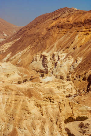 Fragment of the Judean desert near the shore of the Dead Sea  photo