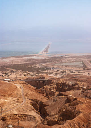 View on Dead Sea from Masada fortress, Israel photo