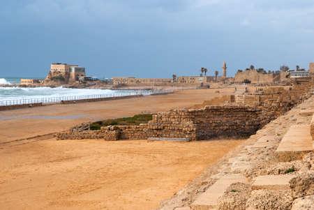 caesarea: Ruins of the ancient Romanian harbor, Caesarea, Israel   Stock Photo