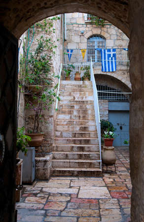 courtyard in the old town in Jerusalem  photo