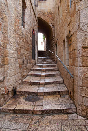 city alley: An alley in the old city in Jerusalem  Stock Photo