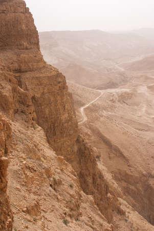 masada: Masada mountain in the haze, israel Stock Photo