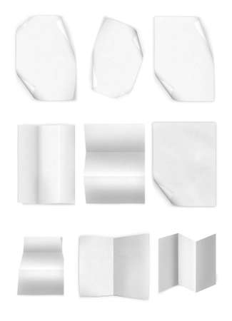 z fold: collection of various leaflet blank white paper on white background
