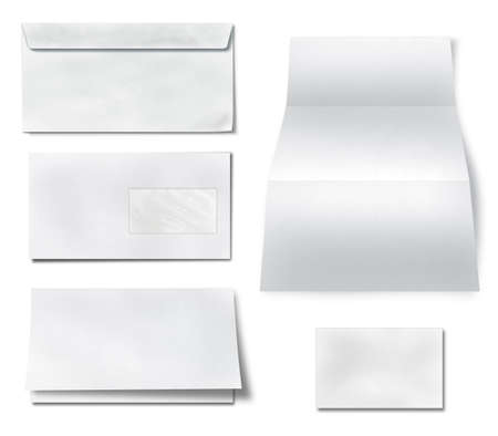 z fold: collection of various blank white paper on white background  each one is shot separately