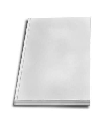 close up of a blank white book on white background with clipping path