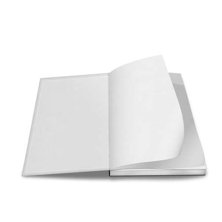 close up of a blank white book on white background with clipping path photo