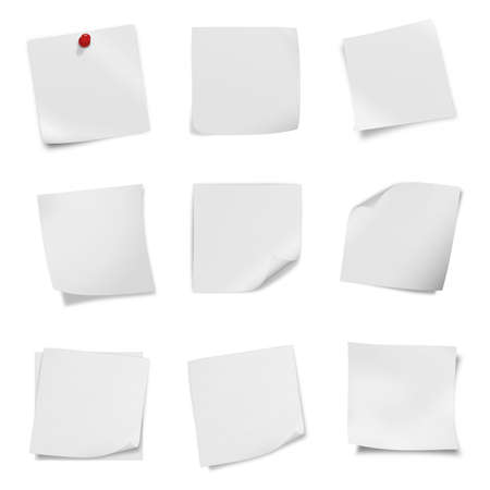 collection of various leaflet blank white paper on white background