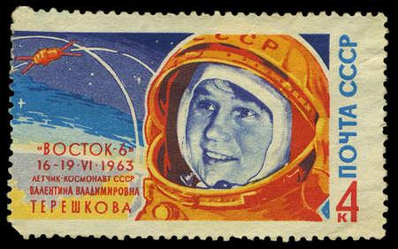 SSCB - CIRCA Rusya'da basılan 1963 damga, 1963 dolaylarında kozmonot VV Tereshkova, dizi, portresini gösterir