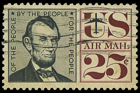 USA - CIRCA 1950s  A stamp printed in USA shows Abraham Lincoln, circa 1950s Stock Photo - 17985893