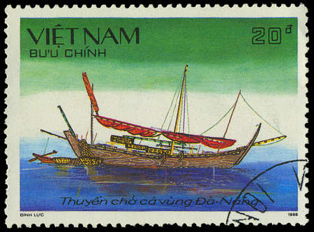 VIETNAM - CIRCA 1988: a stamp printed by VIETNAM shows image of a sailing ship, series, circa 1988 Stock Photo - 18033230