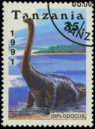era:  TANZANIA - CIRCA 1991: A stamp printed in Tanzania shows Diplodocus, circa 1991