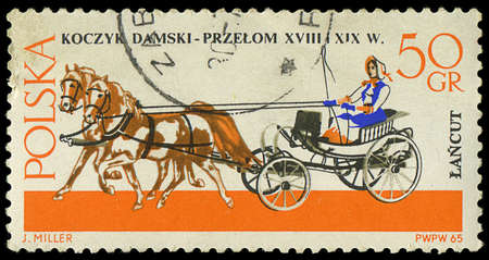 POLAND - CIRCA 1965  a stamp printed in Poland showing horses drawing carriage, circa 1965