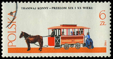 POLAND - CIRCA 1980  a stamp printed in Poland, show  antique horse tram and a coachman, circa 1980